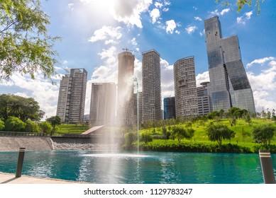 MEXICO CITY, MEXICO - CIRCA JULY 2018: PARQUE LA MEXICANA - PARK, SANTA FE