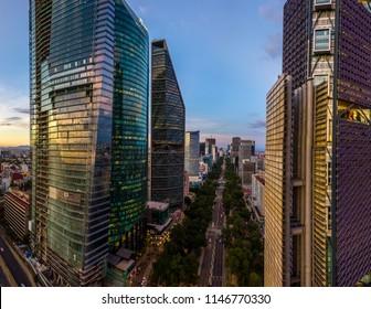 MEXICO CITY, MEXICO - CIRCA JULY 2018: REFORMA AVENUE, CHAPULTEPEC UNO TOWER, ESTELA DE LUZ, TORRE MAYOR AND TORRE BANCOMER BUILDINGS