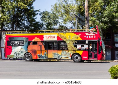 "MEXICO CITY, MEXICO - CIRCA MARCH 2017: Bus for tourists ""Turibus"" at Colonia Roma  (Roma neighborhood)"