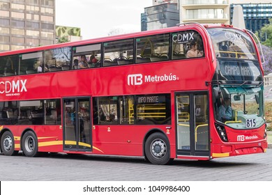 MEXICO CITY, MEXICO - CIRCA MARCH 2018 New Double Decker bus line - Metrobus - at Reforma avenue, downtown.