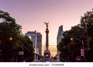 MEXICO CITY, MEXICO - CIRCA SEPTEMBER 2017: Independence Angel. Reforma avenue.