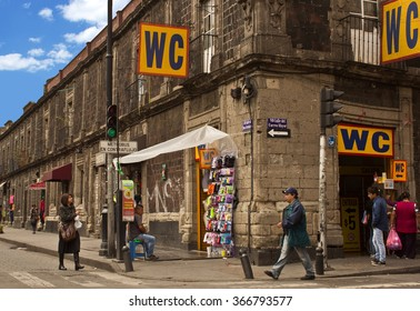 MEXICO CITY - DEC 2: HIstoric Building on street downtown on December 2, 2015 in Mexico City, Mexico