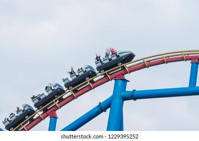 Mexico City, Mexico - December 1, 2016 : Six Flags Adventure amusement park in Mexico City.