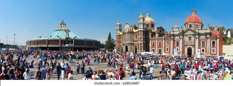 Mexico City, Mexico - December 12, 2016: Pilgrims celebrate the Day of the Virgin of Guadalupe with a mass ceremony in her honor in Basilica of Our Lady of Guadalupe