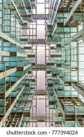 MEXICO CITY, MEXICO - DECEMBER 16, 2017: Modern architecture inside the Biblioteca / Library Vasconcelos in Mexico City, Mexico. The library is spread across 38,000 square meters (409,000 sq ft).