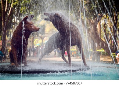 Mexico City / Mexico - December 2, 2017: A shot of the popular coyote fountain in the picturesque town square of Coyoacan, one of the 16 boroughs of Mexico City.