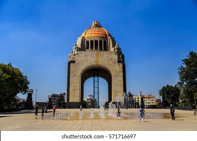 MEXICO CITY, MEXICO - DECEMBER 24, 2016 : he Monument to the Revolution, the landmark and monument commemorating the Mexican Revolution