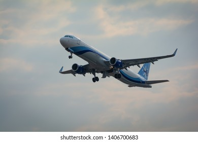 MEXICO CITY, MEXICO - December 26, 2016: Interjet A-321 take off from International Airport Benito Juarez.