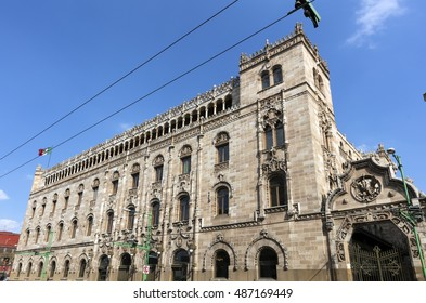 MEXICO CITY, MEXICO - DECEMBER 27, 2015; The central post office near the Plaza de la Constitucion, the main square in front of Cathedral Metropolitana and Metropolitan Tabernacle.