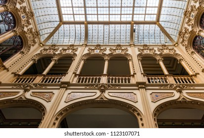 Mexico City, Mexico - December 28, 2015: The inner view of the historical and beautiful Palacio Postal at Mexico City.