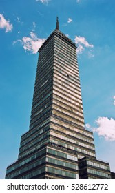 Mexico City, Mexico - December 3, 2016: View of Torre Latinoamericana ( Latin-American Tower) in Mexico City.