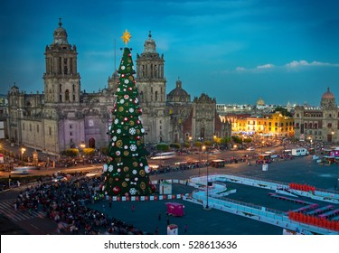 Mexico City, Mexico - December 3, 2016: Metropolitan Cathedral and Christmas Tree Decorations in Zocalo, Mexico City