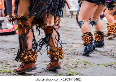"""""""Mexico City, Mexico  Mexico - December 30 2013: Traditional Mexican tribal foot rattle  at the Concheros dance. A traditional dance  from colonial period it features both pre-Hispanic and Christian"""""""