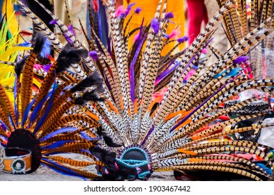"""""""Mexico City, Mexico  Mexico - December 30 2013: A variety of native Indian feathers  worn by  dancers  at the Concheros dance in Mexico City """""""
