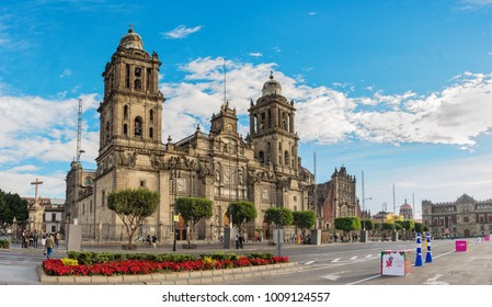 Mexico City, Mexico - December 4, 2016: Beautiful view of Cathedral on Zocalo, Mexico City, Mexico