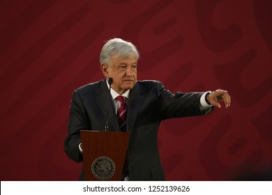 Mexico City, Mexico December 7 2018. Andrés Manuel López Obrador, president of Mexico attend to the press conference of this morning.