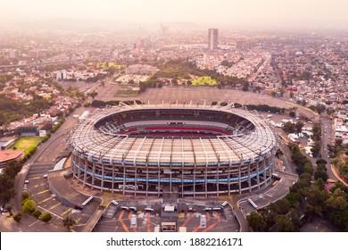 MEXICO CITY, MEXICO - DECEMBER 9, 2020. Aerial view of Azteca Stadium. Estadio Azteca.