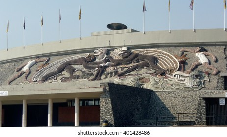 """Mexico City, D.F, Mexico - December 2012: Detail of the mural by Diego Rivera called """"The University, the Mexican family, peace and youth sports"""" and atop the Olympic pyre."""