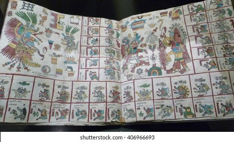 Mexico City, D.F, Mexico - January 2013: The Codex Borbonicus, an ancient codice written by Aztec priests, showing glyphs, deities, sacred calendars and rituals at the Nat. Museum of Anthropology.