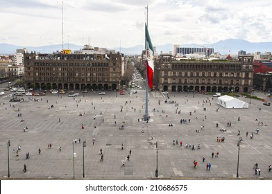 MEXICO CITY - FEB 17, 2012: Constitution Square (Zocalo) view from the dome of the Metropolitan Cathedral on february 17, 2012 in Mexico City, Mexico. It is one of the largest squares in the world.