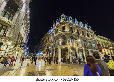 Mexico City, FEB 18: Night view of Museum Estanquillo on FEB 18, 2017 at Mexico City