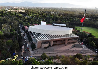 MEXICO CITY - FEB 24 2010:Aerial view of the Auditorium of Mexico City, Mexico.In May 2007, the American magazine Pollstar ranked the National Auditorium as the best concert venue in the world.