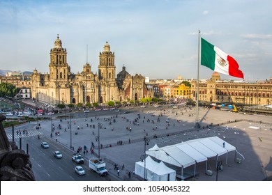MEXICO CITY - FEB 5, 2017: Constitution Square (Zocalo) view from the dome of the Metropolitan Cathedral on february 5, 2017 in Mexico City, Mexico. Day of Constitution in Mexico