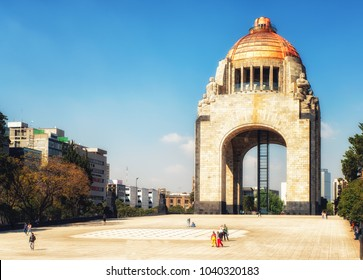 Mexico City, Mexico - February 15, 2018:   Monument commemorating the Mexican Revolution. Designed in an eclectic Art Deco and Mexican socialist realism style. Mexico City, Mexico on Jul, 27, 2013.