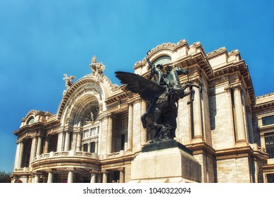 Mexico City, Mexico - February 15, 2018: Palacio de Bellas Artes or Palace of Fine Arts, a famous theater,museum and music venue in Mexico City