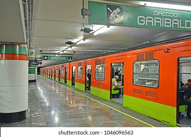 MEXICO CITY, MEXICO - FEBRUARY 16, 2017 - San Juan de Letran metro station with rubber-tyred train, Mexico City Metro (STC)