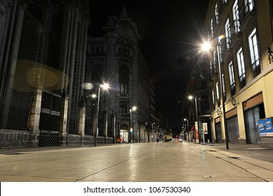 MEXICO CITY, MEXICO - FEBRUARY 16, 2018 - Night view of pedestrianised Madero Street in the Historic Centre of Mexico City