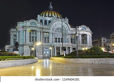 MEXICO CITY, MEXICO - FEBRUARY 16, 2018 - Night view of Palacio de Bellas Artes (Palace of Fine Arts), one of the most know buildings of Mexico City