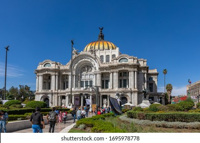 MEXICO CITY, MEXICO - FEBRUARY 17, 2020: Fine Arts Palace - Palacio de Bellas Artes cultural center in Mexico City, Mexico.