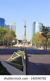 MEXICO CITY - FEBRUARY  3, 2013:The Angel of Independence, officially known as a victory column located on a roundabout over Paseo de la Reforma on february 3, 2013 in Mexico City, Mexico.