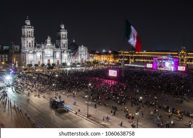 MEXICO CITY - FEBRUARY 7, 2018: Zocalo in Mexico City Independence celebration holiday at night time. Aerial view