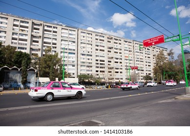 MEXICO CITY, MEXICO - FEBRUARY 8, 2018 - Taxis in the Tlatelolco's neighborhood, Mexico City