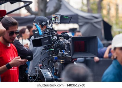 MEXICO CITY, MEXICO - FEBRUARY 8, 2018 - Cinema Camera during a shoot in Mexico City downtown