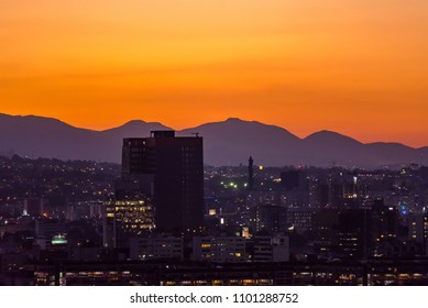 Mexico City Golden Hour, buildings silhouettes, sunset