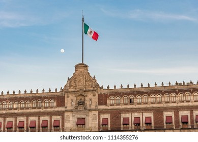 Mexico City, Government Palace with flag and moon in the background