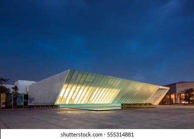 "MEXICO CITY, Jan 6, 2017: Museo Universitario Arte Contemporaneo ""University Museum of Contemporary Art"" at Night, is a large contemporary art museum on the campus of UNAM of Mexico."