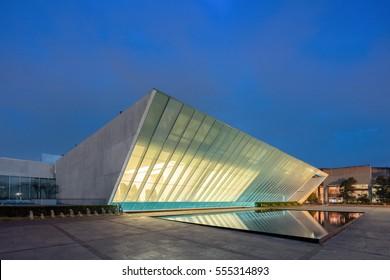 """MEXICO CITY, Jan 6, 2017: Museo Universitario Arte Contemporaneo """"University Museum of Contemporary Art"""" at Night, is a large contemporary art museum on the campus of UNAM of Mexico."""