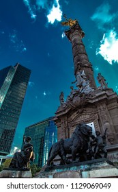 MEXICO CITY, MEXICO - January 01, 2016 : The Angel of Independence or El Ángel, officially known as Monumento a la Independencia, is a victory column on the Paseo de la Reforma in downtown Mexico City