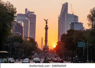 Mexico City, Mexico -  January 10, 2018:  Independence Angel at sunset. Reforma avenue.