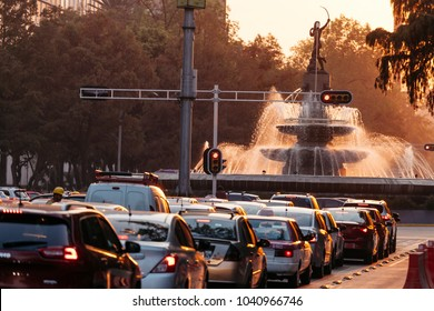 Mexico City, Mexico -  January 10, 2018:  The Fountain of Diana the Huntress (Fuente de la Diana Cazadora) at sunset. Reforma avenue.