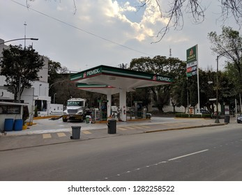 Mexico City, Mexico - January 12, 2019: Customers wait for gas at Pemex Station in the La Condensa neighborhood during the gas shortage caused president's closing of the pipelines to thwart gas theft.