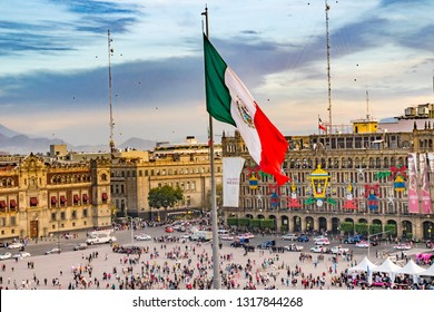MEXICO CITY, MEXICO - JANUARY 2, 2019 Presidential Palace Zocalo, Flag Christmas Mexico City Mexico Zocalo