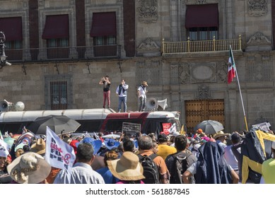 Mexico, Mexico City - January 22, 2017: political demonstration in the square of Mexico City against the government of Enrique Pena Nieto