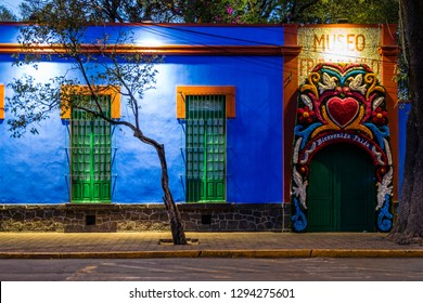 Mexico City, Mexico - January 23, 2019: The famous Frida Kahlo Museum aka Blue House (La Casa Azul), a historic house and art museum dedicated to the life and work of Mexican artist Frida Kahlo.