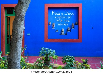 Mexico City, Mexico - January 23, 2019: Wall by the entrance of the Blue House (La Casa Azul), a historic house and art museum dedicated to the life and work of Mexican artist Frida Kahlo.