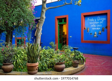 Mexico City, Mexico - January 23: Historical landmark Blue House museum (Spanish: La Casa Azul), dedicated to the life and work of Mexican artist Frida Kahlo, in Mexico City, Mexico.